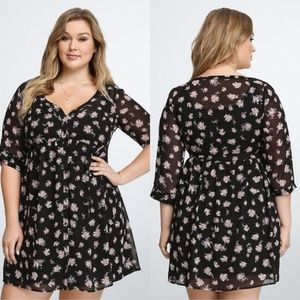 Torrid Black Floral Chiffon Mid Sleeve Shirt Dress